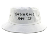 Green Cove Springs Florida FL Old English Mens Bucket Hat White