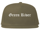 Green River Wyoming WY Old English Mens Snapback Hat Grey