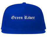 Green River Wyoming WY Old English Mens Snapback Hat Royal Blue