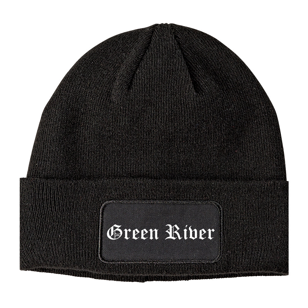 Green River Wyoming WY Old English Mens Knit Beanie Hat Cap Black