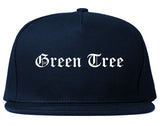 Green Tree Pennsylvania PA Old English Mens Snapback Hat Navy Blue
