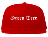 Green Tree Pennsylvania PA Old English Mens Snapback Hat Red
