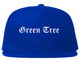 Green Tree Pennsylvania PA Old English Mens Snapback Hat Royal Blue