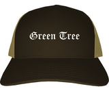 Green Tree Pennsylvania PA Old English Mens Trucker Hat Cap Brown