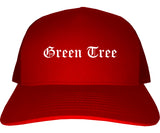 Green Tree Pennsylvania PA Old English Mens Trucker Hat Cap Red