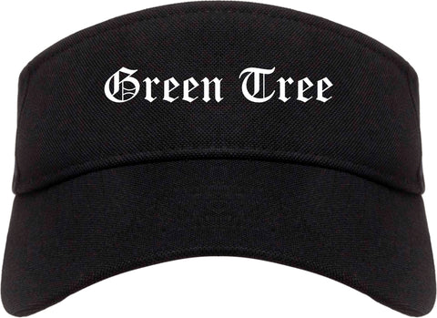 Green Tree Pennsylvania PA Old English Mens Visor Cap Hat Black