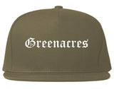 Greenacres Florida FL Old English Mens Snapback Hat Grey