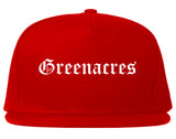 Greenacres Florida FL Old English Mens Snapback Hat Red