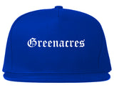 Greenacres Florida FL Old English Mens Snapback Hat Royal Blue