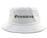 Greenacres Florida FL Old English Mens Bucket Hat White