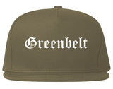 Greenbelt Maryland MD Old English Mens Snapback Hat Grey