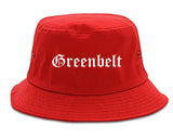 Greenbelt Maryland MD Old English Mens Bucket Hat Red