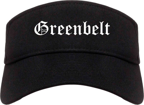 Greenbelt Maryland MD Old English Mens Visor Cap Hat Black
