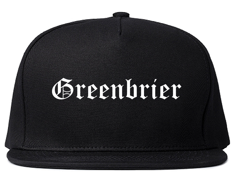 Greenbrier Arkansas AR Old English Mens Snapback Hat Black