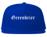Greenbrier Arkansas AR Old English Mens Snapback Hat Royal Blue
