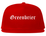 Greenbrier Tennessee TN Old English Mens Snapback Hat Red