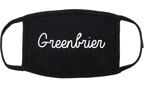 Greenbrier Tennessee TN Script Cotton Face Mask Black