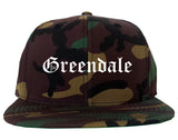Greendale Indiana IN Old English Mens Snapback Hat Army Camo
