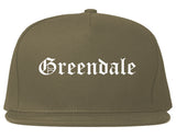 Greendale Indiana IN Old English Mens Snapback Hat Grey