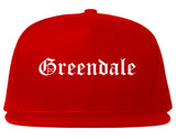 Greendale Indiana IN Old English Mens Snapback Hat Red