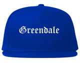 Greendale Indiana IN Old English Mens Snapback Hat Royal Blue