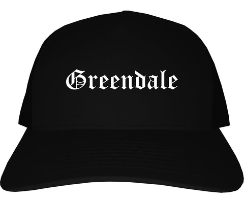 Greendale Indiana IN Old English Mens Trucker Hat Cap Black