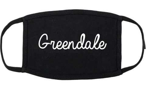 Greendale Wisconsin WI Script Cotton Face Mask Black