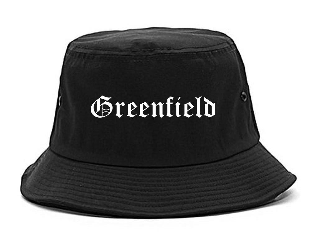 Greenfield California CA Old English Mens Bucket Hat Black