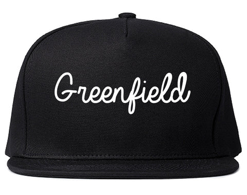 Greenfield Indiana IN Script Mens Snapback Hat Black