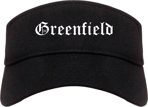 Greenfield Indiana IN Old English Mens Visor Cap Hat Black