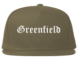 Greenfield Ohio OH Old English Mens Snapback Hat Grey