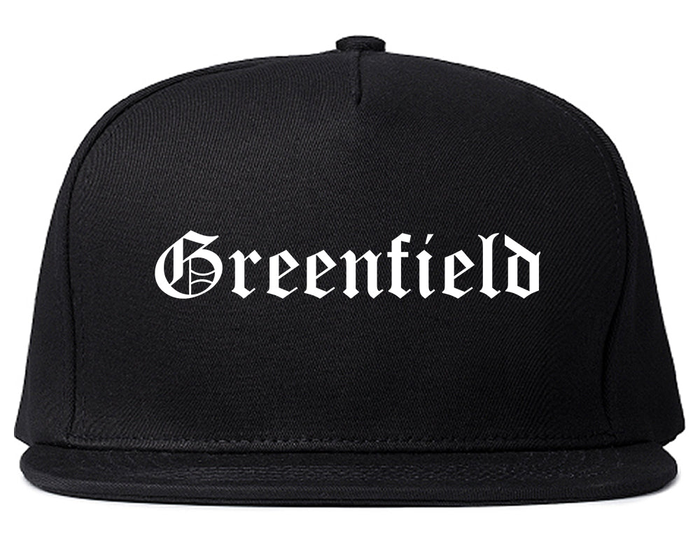 Greenfield Wisconsin WI Old English Mens Snapback Hat Black