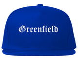 Greenfield Wisconsin WI Old English Mens Snapback Hat Royal Blue