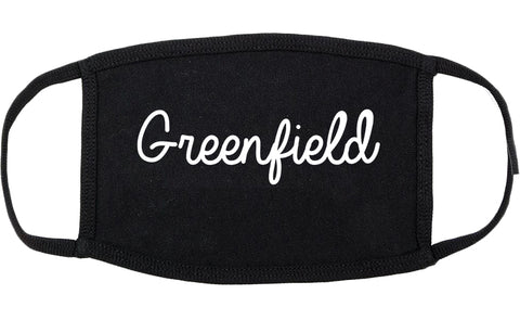 Greenfield Wisconsin WI Script Cotton Face Mask Black