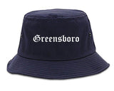 Greensboro North Carolina NC Old English Mens Bucket Hat Navy Blue