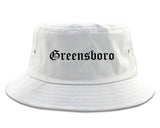 Greensboro North Carolina NC Old English Mens Bucket Hat White