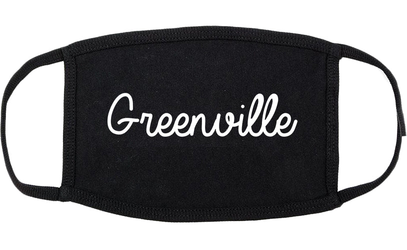 Greenville Mississippi MS Script Cotton Face Mask Black