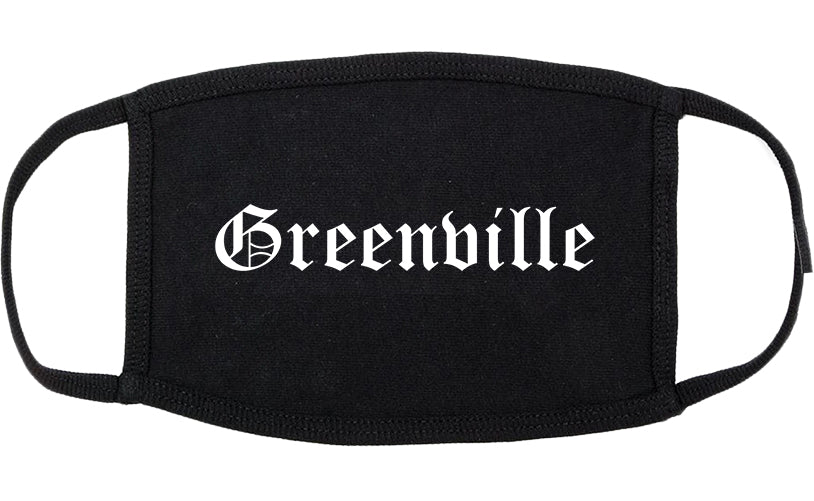 Greenville North Carolina NC Old English Cotton Face Mask Black