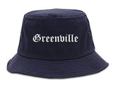 Greenville Ohio OH Old English Mens Bucket Hat Navy Blue