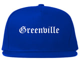 Greenville Texas TX Old English Mens Snapback Hat Royal Blue