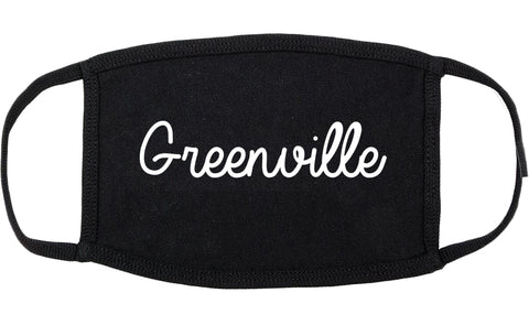 Greenville Texas TX Script Cotton Face Mask Black