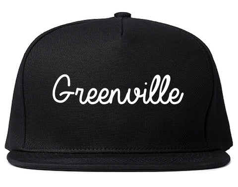 Greenville Texas TX Script Mens Snapback Hat Black