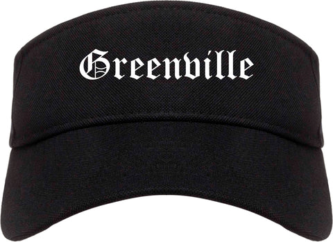 Greenville Texas TX Old English Mens Visor Cap Hat Black