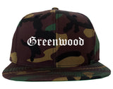 Greenwood Arkansas AR Old English Mens Snapback Hat Army Camo