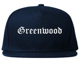 Greenwood Arkansas AR Old English Mens Snapback Hat Navy Blue