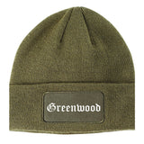 Greenwood Arkansas AR Old English Mens Knit Beanie Hat Cap Olive Green