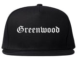 Greenwood Indiana IN Old English Mens Snapback Hat Black