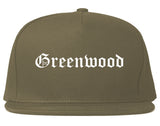 Greenwood Indiana IN Old English Mens Snapback Hat Grey