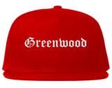 Greenwood Indiana IN Old English Mens Snapback Hat Red