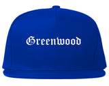 Greenwood Indiana IN Old English Mens Snapback Hat Royal Blue